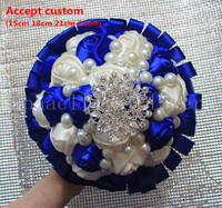 럭셔리 진주 보석 장미 웨딩 꽃 신부 로얄 블루 화이트 들러리 꽃다발 페르시 블링 브로치 웨딩 장식 선물