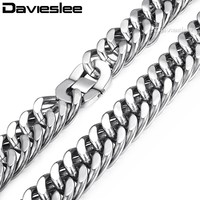 22mm Heavy Silver Tone Cut Double Curb Link Rombo Mens Chain Boys 316L Stainless Steel Necklace