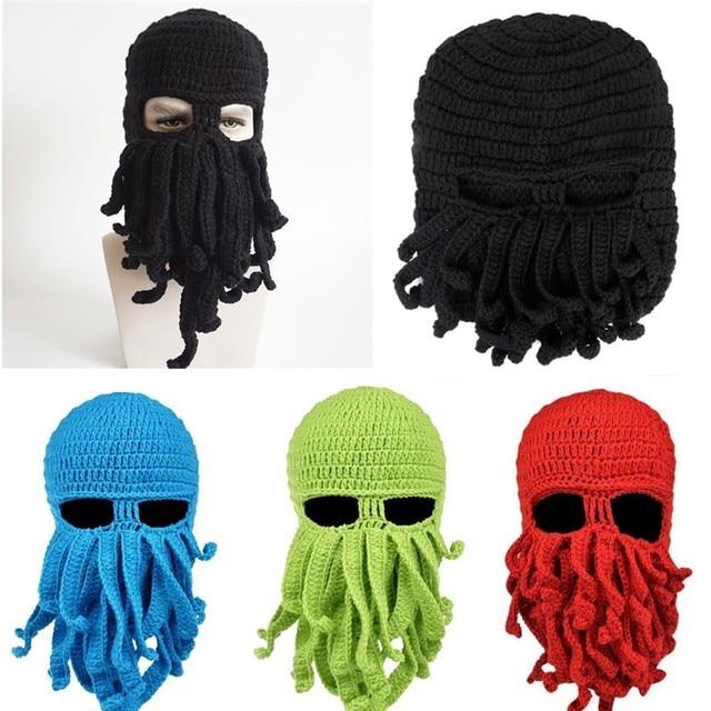 Divertido tentáculo Octopus sombrero de ganchillo barba Beanie ...