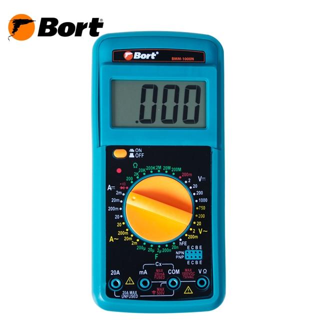 Мультитестер Bort BMM-1000N (измерение постоянного тока до 1000 В, переменного тока, сопротивления, корпус с выдвижной подставкой и резиновым чехлом, щупы батарея в комплекте)