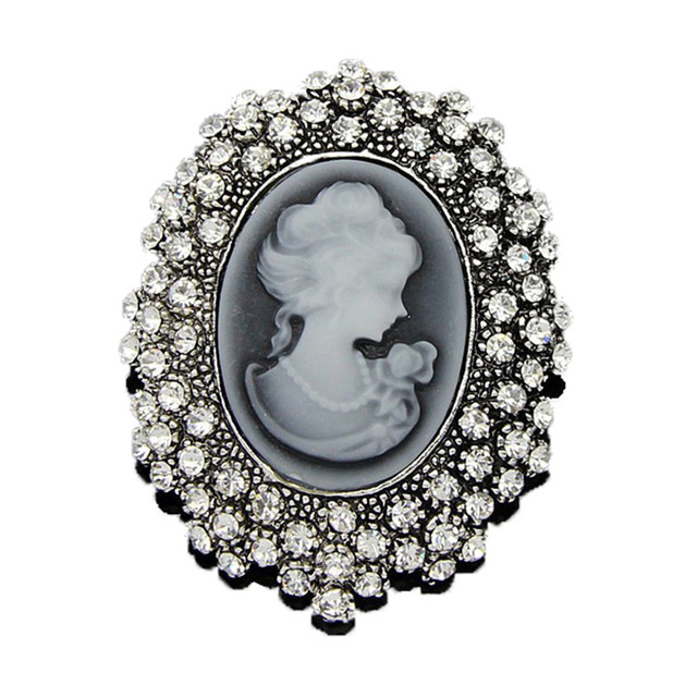 Fashion Vintage Jewelry Cameo Brooch Pin Beauty Queen Crystal Rhinestone  Christmas Brooch Antique Gold Silver For 27d98c8ac4cc