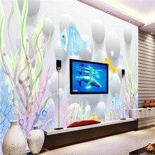 Custom murals 3D three-dimensional sea fish TV background wall design manufacturers wholesale wallpaper custom photo