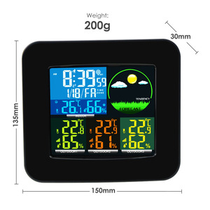 Image 2 - Digital Weather Station RCC DCF with 3 Indoor/ Outdoor Wireless Sensors 6 kinds of Weather Forecast Thermometer and Hygrometer