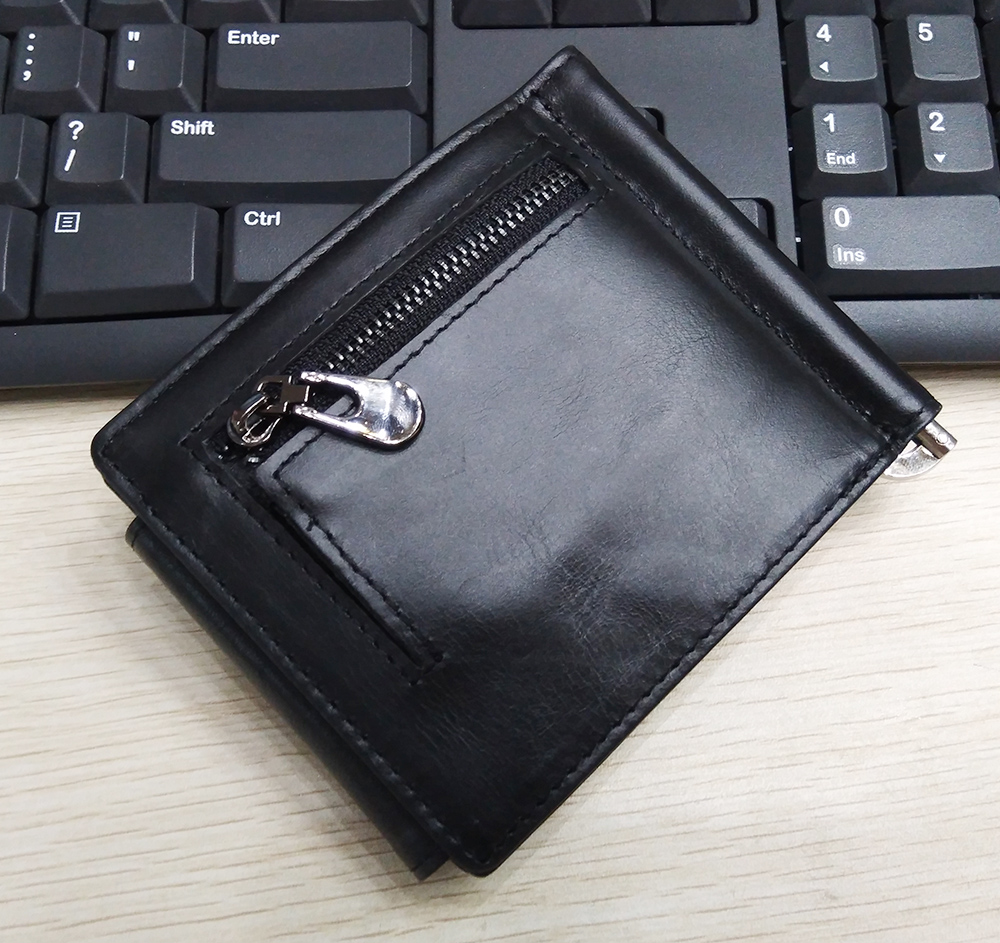 KAVIS Rfid Free Engraving Genuine Leather Money Clip Top Quality Bifold Male Purse Billfold Wallet Clamp for Money Case Coin photo review