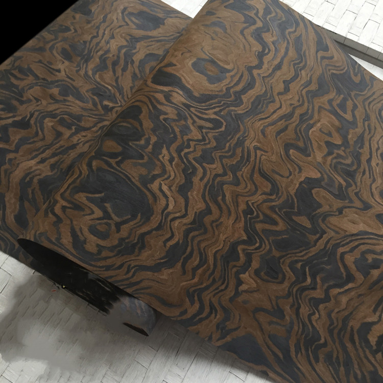 2x Artificial Technical Veneer Sliced Wood Engineering Veneer E.V. Black Walnut Burl Root 64x250cm Tissue Backing