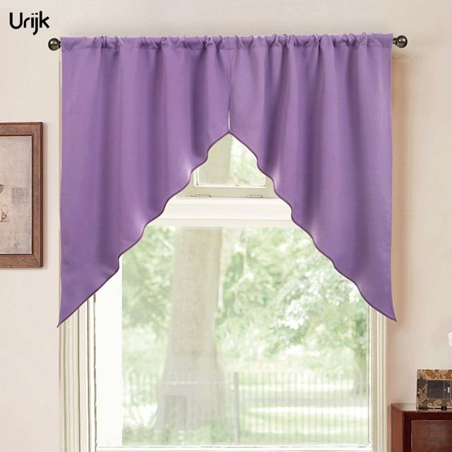 Urijk 2pc Triangular Curtain For Kitchen Window Screen Panel Curtains Purple Red Coffee Cortina