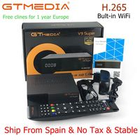 Gtmedia V9 Super FREE SAT V9 SUPER DVB S2 Built in WIFI Support AVS+ HD.265 Satellite Receiver with 1 year clines cccam server
