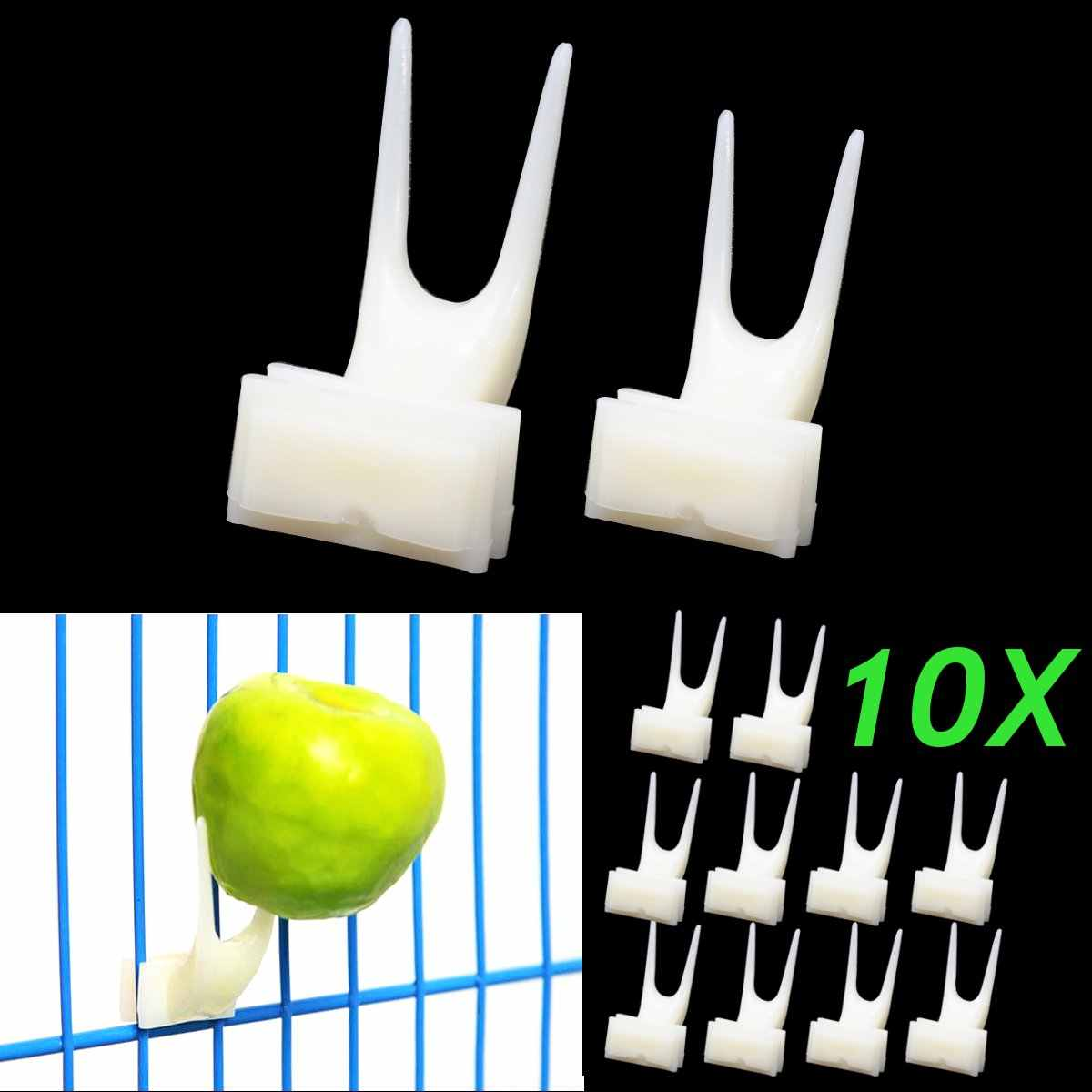 10Pcs/Lot Bird Feeder Fruit Fork Pet Parrot Set Install Cage Accessories Supplies Convenient Pet Device Small Large Size