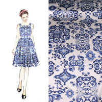 Blue And White100 Mulberry Silk Fabric Nature Pure Silk Rose Flowers Print Fabric Silk Stretch Satin