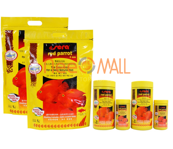 Sera Red parrot fish food granules 2mm 4mm float on water ...