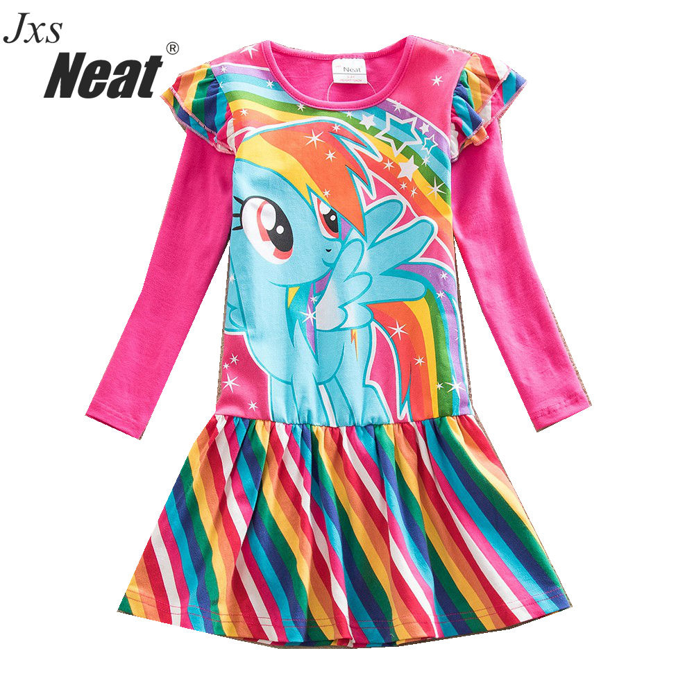 NEAT Autumn Girl Long Sleeves Dress Fashion Baby Clothes Lovely girl cotton dress Rainbow Cartoon Children dress for girl LH6010 2017 autumn girl long sleeves dress fashion baby casual kids cotton dress print rainbow 3 8 year old children s clothing lh6010