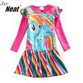 NEAT Autumn Girl Long Sleeves Dress Fashion Baby Clothes Lovely girl cotton dress Rainbow Cartoon Children dress for girl LH6010