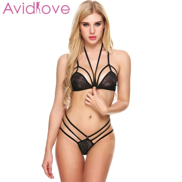 0b633b0349 Avidlove Women Sexy Lingerie Set Hollow Out Floral Lace Bra and Thong Brief  Sleepwear Unlined Halter Back Bra Buckle Babydolls