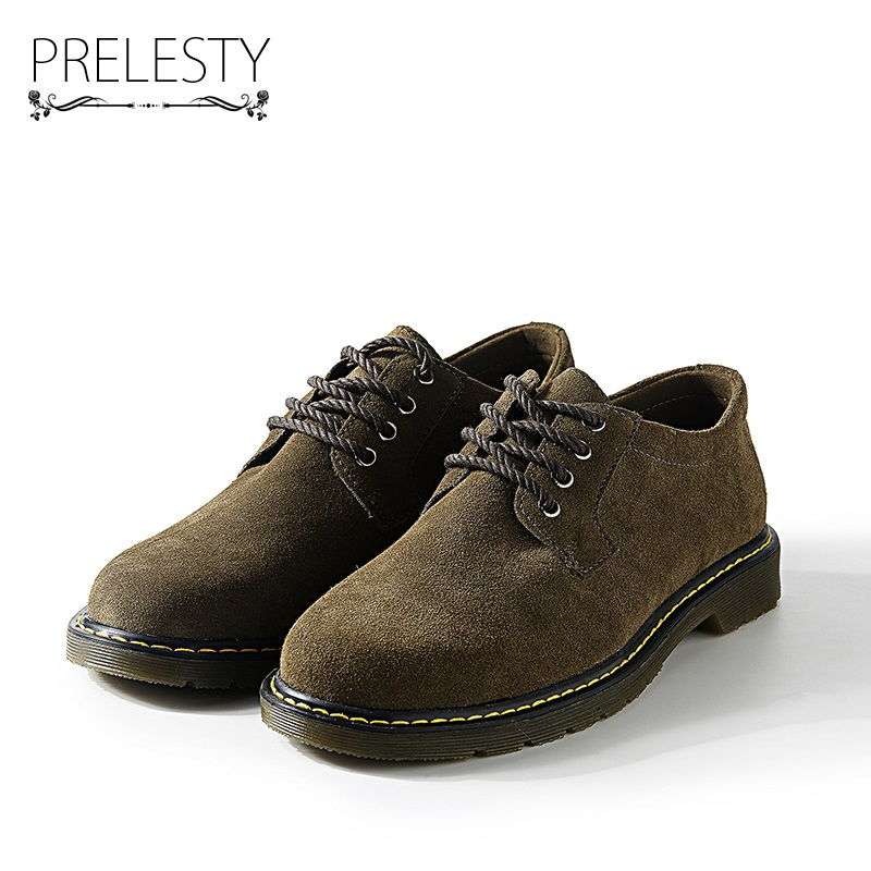 Prelesty Winter Warm Men Shoes Suede Leather Casual Flat Shoes Lace-up Men's Flats for Man Rubber Outsole Soft Comfortable