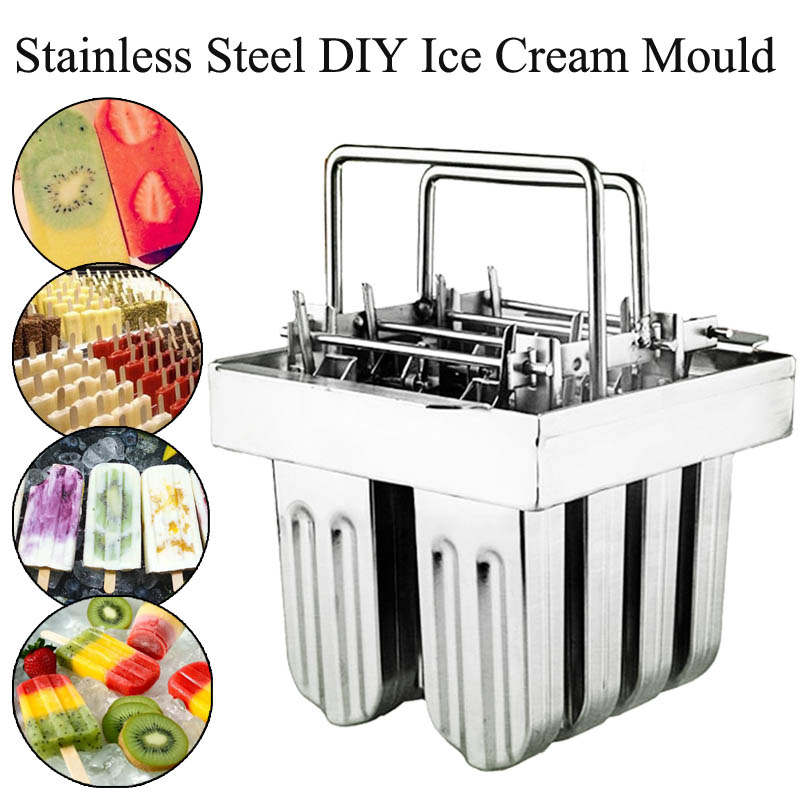 Industrial Stainless Steel Ice Cream Maker 8 Cells Ice Molds Lolly Popsicle Stick Bars Holder Home DIY Ice Cream Maker Supplies