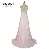 Real Photo Formal Gown See Through Back Beading Handwork Chiffon Prom Long Evening Dresses OL102830
