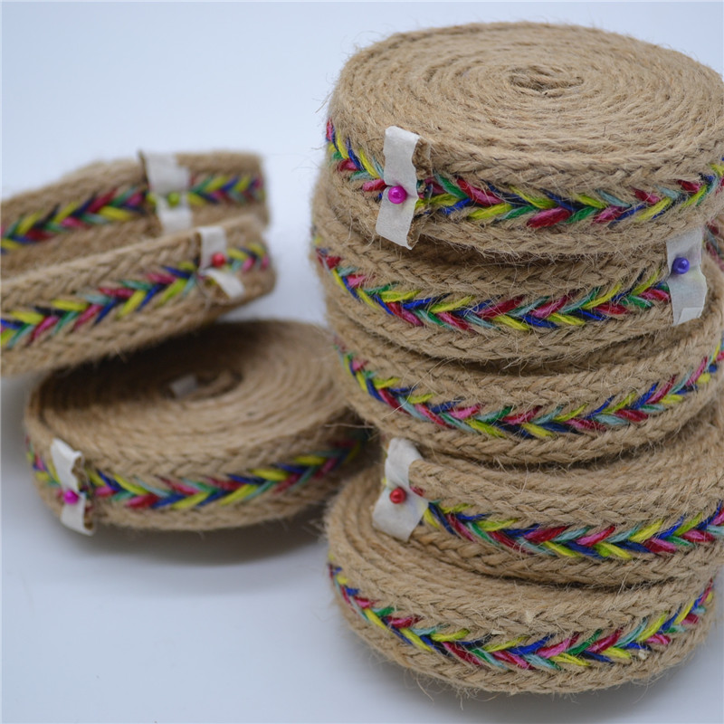 Natural Hessian Jute Twine 2.5cm Burlap Ribbon DIY Craft Vintage Ethnic Style Wedding Christmas Party Decor Hemp Rope 2 Meters