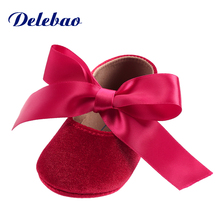 Delebao Spring/Autumn White Christening Baptism Lace-up Infant Toddlers Baby Boy & Girl Soft Sole Shoes Only Shipped To US цены онлайн