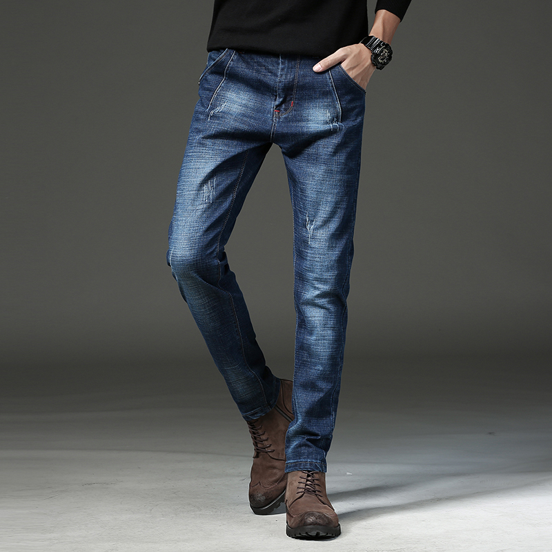 High Quality Jeans Men 2018 New Four Seasons Solid Jeans Design Korean Slim Stretch Zipper Pencil Pants 723