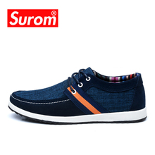 SUROM Men's Breathable Skateboarding Shoes Patchwork Canvas and Flywire Denim Classic Leisure Lacing Krasovki Men Shoes