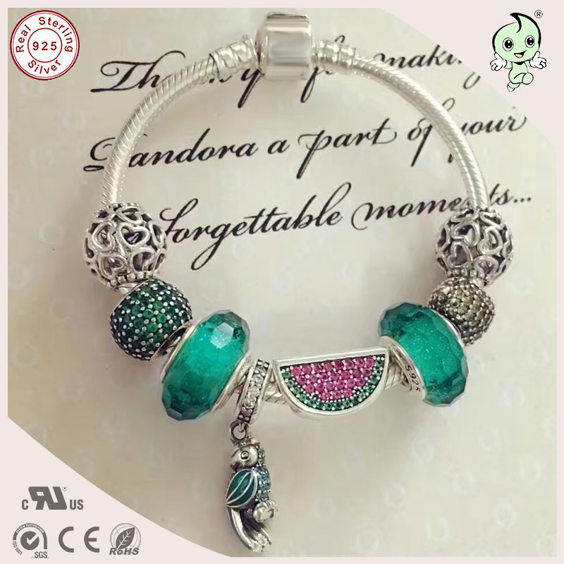 Best Quality Fashion Fitting Original Famous Brand Refreshing Silver Green Murano And Watermelon Charm 925 Real Silver BraceletBest Quality Fashion Fitting Original Famous Brand Refreshing Silver Green Murano And Watermelon Charm 925 Real Silver Bracelet