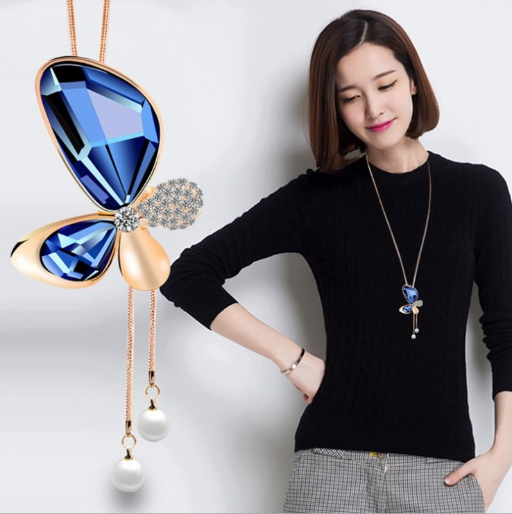 3COLOR New Sale Maxi Necklace Tower Wholesale Fashion Jewelry Crystal from Swarovski beaded Flowers Woman Party