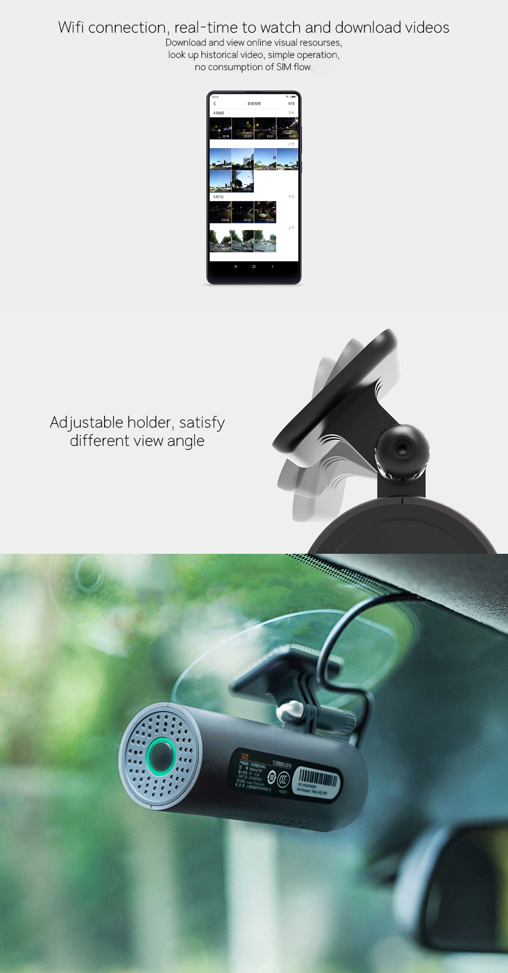 Xiaomi 70 Minutes Smart Car Camera Voice Control WiFi 130 Degree Car Cam  1080P Full HD Night Version Driving Recorder Smart Cam