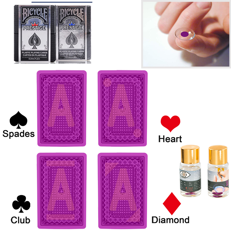 Bicycle Prestige Marked Playing Cards Magic Invisible Cards for UV Contact Lenses Cheat in Casino Gambling Anti Poker Cheat
