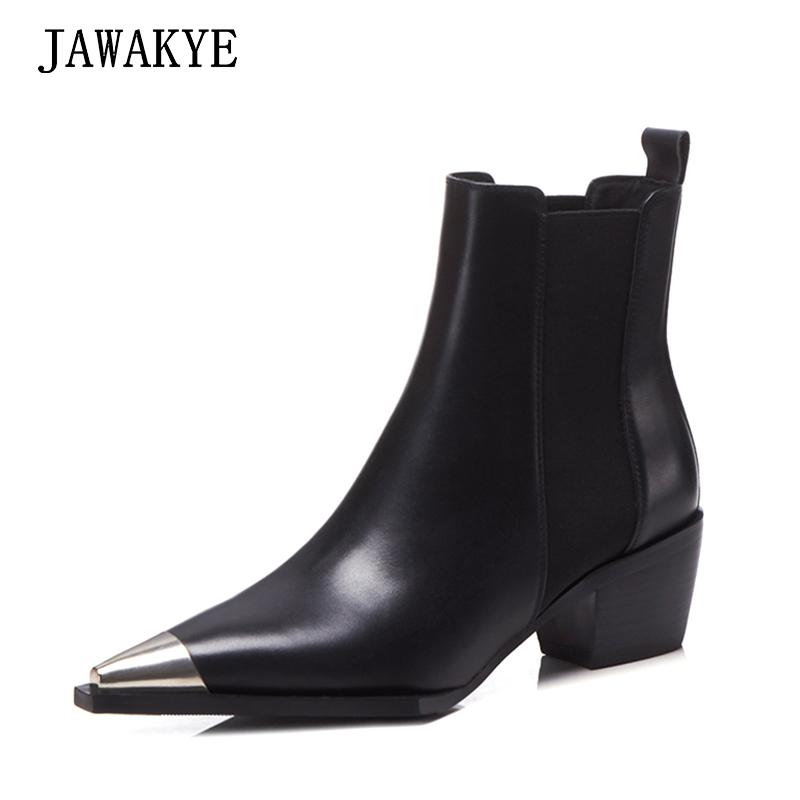 New Black Chelsea Ankle boots women Metal Pointed Toe Genuine Leather Kitten Heels winter Shoes Woman Classic Flat knight Boots fashion fringe women short chelsea boots black genuine leather thick high heels shoes woman pointed toe metal buckle booties