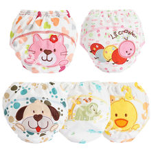 Washable Baby Cloth Diaper Cover Waterproof Cartoon Baby Diapers Reusable Cloth Nappies Cotton Baby Training Pants Underwear(China)