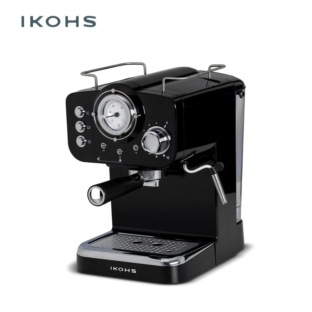 IKOHS THERA Traditional Machine Domestic Coffee Stainless Steel Cappuccino Late American 1.25L Adjustable Practice 15Bar 1000W
