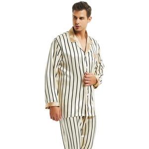 Image 4 - Mens Silk Satin Đồ Ngủ Thiết Lập Bộ Đồ Ngủ Bộ Ngủ PJS Ngủ Loungewear S ~ 4XL Sọc
