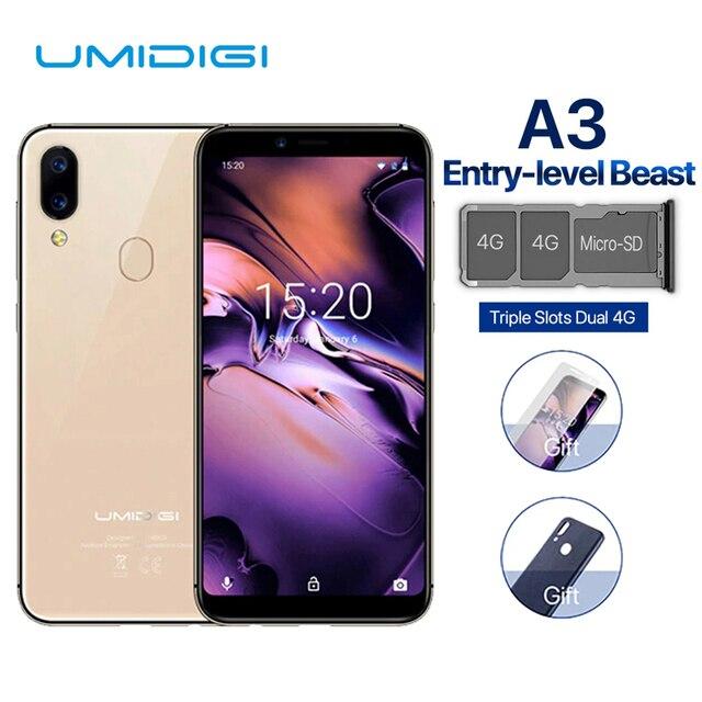 UMIDIGI A3 สมาร์ทโฟน Global DUAL 4G 5.5 นิ้ว 18:9 หน้าจอโทรศัพท์มือถือ Android 8.1 2 + 16G Face ลายนิ้วมือโทรศัพท์มือถือ