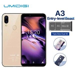 Image 1 - UMIDIGI A3 Смартфон Global Dual 4G Sim 5,5 дюймов 18:9 полноэкранный мобильный телефон Android 8,1 2 + 16G отпечаток лица сотовые телефоны
