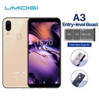 UMIDIGI A3 Smartphone Global Dual 4G Sim 5.5 Inch 18:9 Full Screen Mobile Phone Android 8.1 2+16G Face Fingerprint Cell Phones
