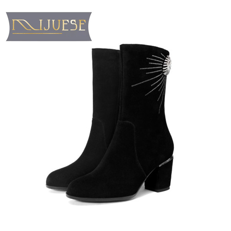 MLJUESE 2019 women Mid-calf  boots cow suede crystal winter warm thick heel  high heels women  boots big size 33-43MLJUESE 2019 women Mid-calf  boots cow suede crystal winter warm thick heel  high heels women  boots big size 33-43