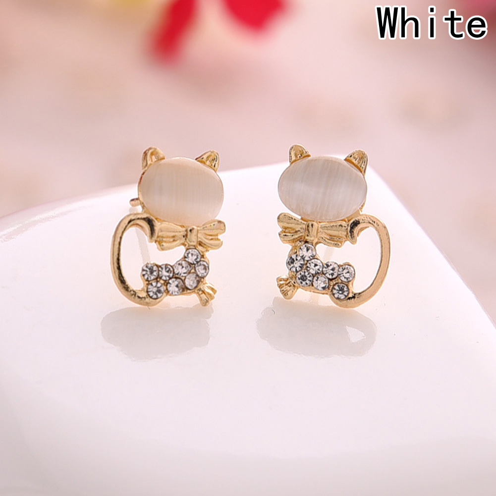 2017 New Hot Fashion Fine Jewelry Gold Color Super Cute Sweet Fresh Opal Rhinestone Kitty Cat Stud Earrings For Women Girl