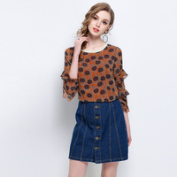 Flower Print Women Chiffon Blouses and Tops 2018 Spring 4XL 5XL Plus Size Clothing European Style Ruffles Oversized Shirts