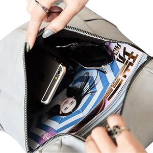 Image 5 - Frauen PU Leder Rucksack Nieten Tasche Casual Einfache Doppel Schulter Student Rucksack Modische Große Kapazität Reisetasche ZK29