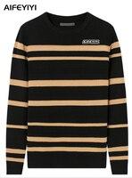 Aifeyiyi Для мужчин 2018 весна и осень Европа США Мода Черный и белый цвета с длинными рукавами вырез лодочкой свитер Для мужчин