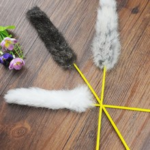 Bird Toy Pet Cat Dog Rod Rabbit Hair Feather Ball Kitten Interactive Toy Fun Playing Cat Plastic Stick Pet Products Random Color