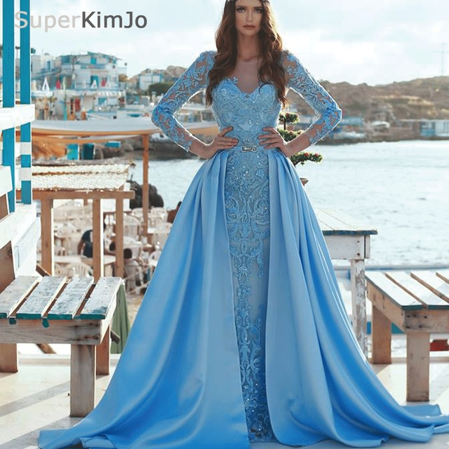 534153fe5db detachable prom dresses with v neck lace appliques blue long sleeve satin  evening dresses gowns arabic 2019