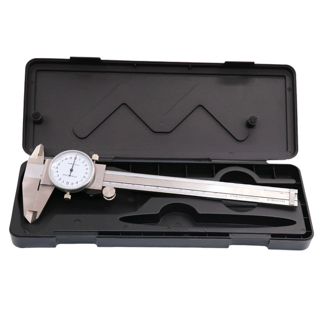 QSTEXPRESS Metric Gauge Measuring Tool Dial Caliper 0-150mm/0.02mm Shock-proof Stainless Steel Precision Vernier Caliper