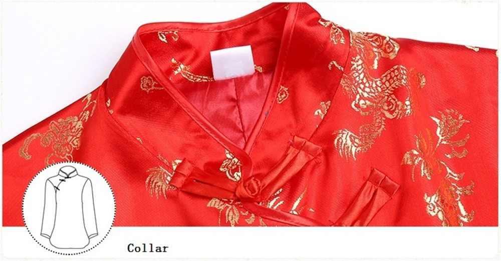 Xangai História Phoenix Dragão Bordado Gola Mandarim Chinês Botão Colete Vermelho
