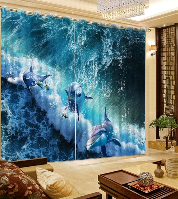 Custom Underwater World Dolphins Curtain Photo Living Room Bedroom 3D Fabric Curtains Hooks
