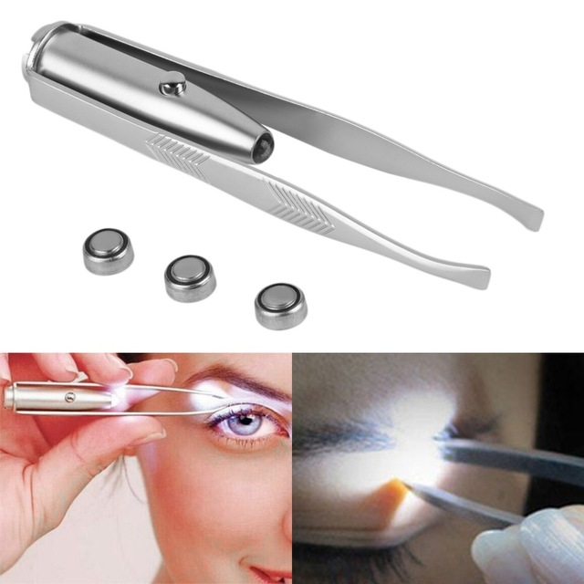 Light-Stainless-Steel-Tweezer-pinzette-portable-LED-Eyebrow-Clip-pince-a-epiler-Tweezers-Hair-Removal-tool