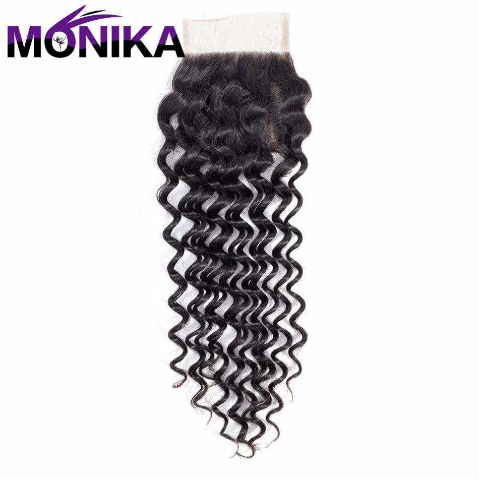 Monika Hair Deep Wave 4*4 Lace Closure Hand Tied Swiss Lace Non Remy Human Hair Closure Natural Color