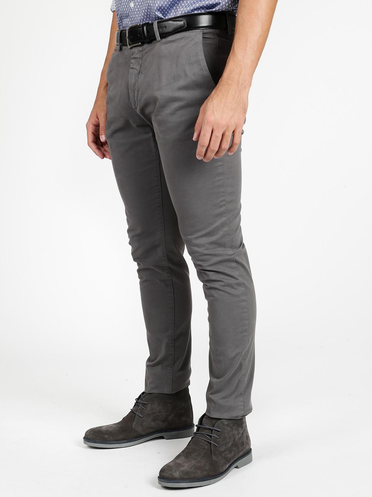 Pants Slim Fit Cotton-Gray