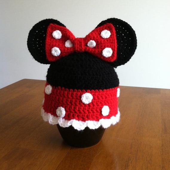 Best selling! Handmade crochet hat 100% cotton Childrens cartoon hat,Crochet Baby Minnie Beanie hat Christmas gifts 50pcs/lot