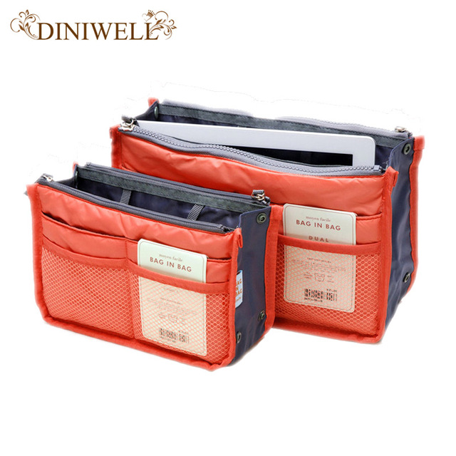 Homdox Portable Double Zipper Storage Bag Insert Organiser Handbag Women Travel In Organizer For